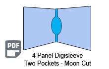 4 Panel CD digisleeve template two discs moon cut
